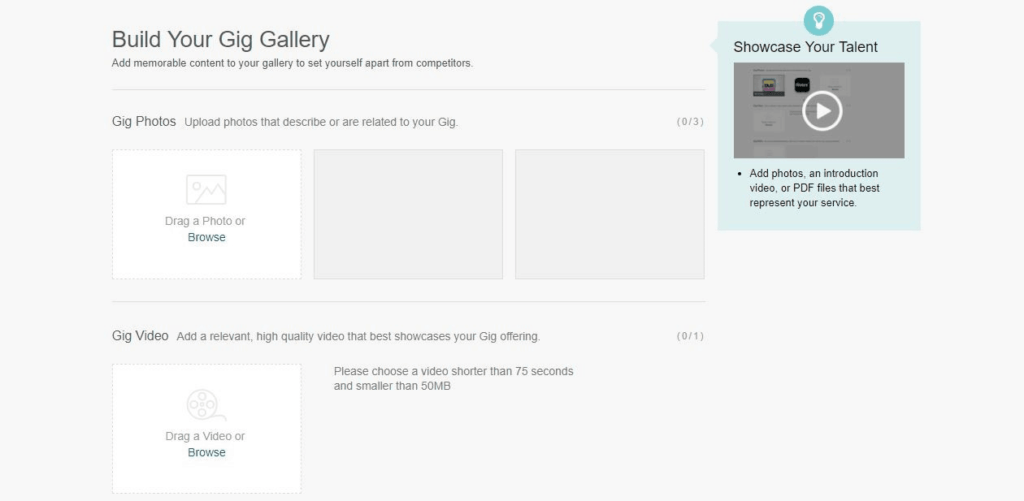 Add gallery to your gig